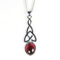 Silver Celtic Drop / Garnet Pendant and Chain