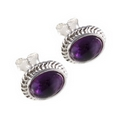 Silver Rope Edged / Amethyst Earring