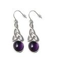 Silver Celtic Drop / Amethyst Earrings