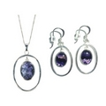 Blue John (Derbyshire) Silver Victoriana Pendant & Chain WITH Earrings SET