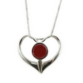 Silver Heart (Set with Garnet)