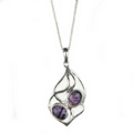 Silver / Blue John Pendant  and Chain  'Soft Entwine