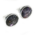 Silver - Blue John Polished Edge Stud Earring