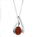Silver / Amber 'Bliss' Pendant and Chain
