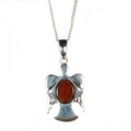 Silver / Amber - Angel Pendant & Chain
