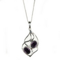 Silver / Amethyst Pendant and Chain  'Soft Entwine