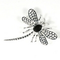 Silver Lace-wing Dragonfly / Onyx Brooch