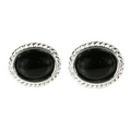 Silver  / Onyx Rope Edged Stud Earrings