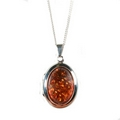 Silver / Amber 'Moments' Locket on Chain