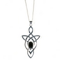 Silver Trinity Celtic Knot with Onyx - Pendant and Chain