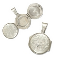 Silver Round 4 Frame Locket and Chain
