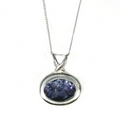 Silver Blue John Horizontal Oval (Medium) Pendant and Chain
