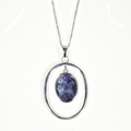 Silver and  Blue John  Pendant and Chain (Victoriana)