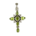 Silver Peridot Cross on Silver Chain