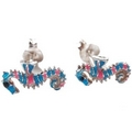 Earrings - Silver/Coloured Seahorse Studs
