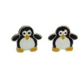 Earrings - Silver/Enamelled Penguins