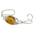 Silver Cognac Amber Torque Bangle