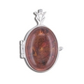 Silver Amber Locket and Chain
