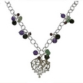 Silver Multi Bead Filigree Heart Necklace