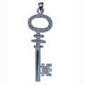 Silver Heavy CZ Key Pendant and Chain