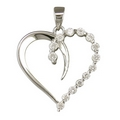 Silver CZ Open Heart - Pendant and Chain