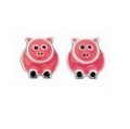 Silver/Pink Pig Studs