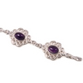 Silver Scroll Edged -7 Amethyst Stones - Bracelets