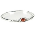 Silver Celtic Bangle with Amber