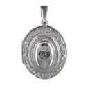 Silver Large Victorian Locket on Chain