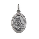 Pendants - Silver Oval St Christopher