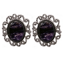 Lace-Edged Silver and  'Blue John' Stud Earrings