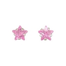 Earrings - Silver/Pink Stars with CZ