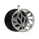 Pendans - Silver Onyx Disc/Flower Overlay
