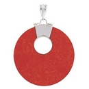 Pendant - Silver Red Disc