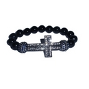 Rhinestone Gunmetal Plated Cross Sanctity Bracelet