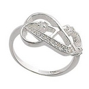 Silver CZ Knotted Style Ring