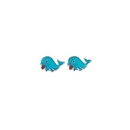 Dolphin Earrings (Blue) - Silver