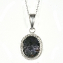 Silver / Blue John Rope Edge Pendant and Chain (Beau)