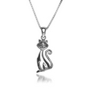 Silver Cat (Curly Tail) Pendant and Chain