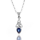 Silver Love Spoon (Sapphire) Pendant and Chain
