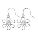 Earrings - Silver 'Open Work' Flower Flower with CZ