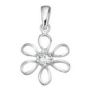 Pendants - Silver 'Open Work' Flower with CZ