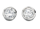 Silver Clear CZ Stud Earrings