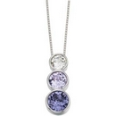 Pendants - Silver Triple Swarovski Crystal  (Purple Shades)