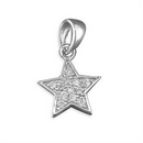 Silver Cubic Zirconia Solid Star Pendant and Chain
