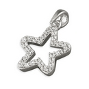 Silver / Cubic Zirconia 'Open' Silver Star Pendant and Chain