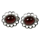 Earrings - Silver Loop Edged/Garnet