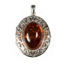Silver Filigree/Amber Locket