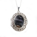 Silver Filigree / Blue John Stone Locket on Chain