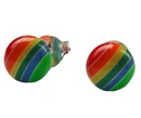 Earrings - Silver/Multi Stripe Ball Stud